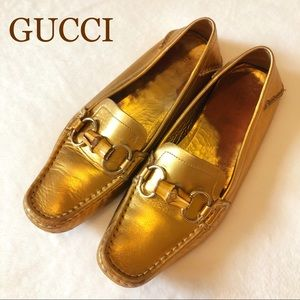 GUCCI LEATHER HORSEBIT BAMBOO Driving Loafers